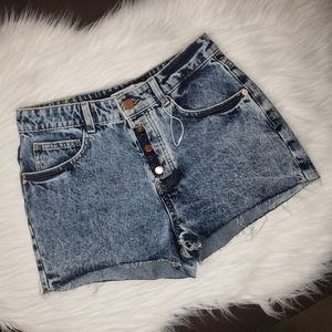 Zara Distressed Button Fly High Rise Jean Shorts